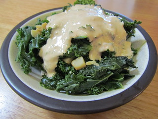 Garlicky Kale with Tahini Dressing