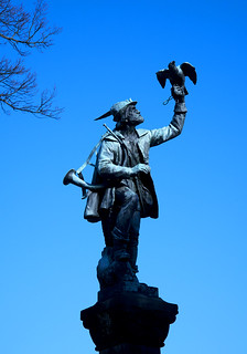 The Falconer Statue in Lauenstein, Germany, February 2015