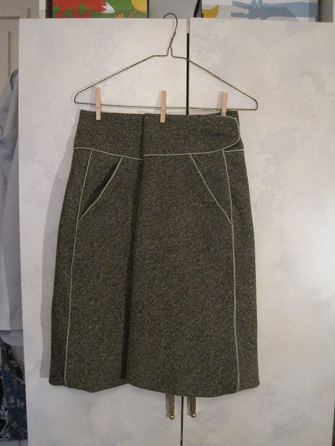 green piped skirt