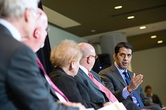 Special Representative to Muslim Communities Shaarik Zafar speaks during a panel on the Future of Religion and Politics with Former Secretary of State Madeleine Albright, Special Representative for Religion and Global Affairs Shaun Casey, Special Envoy to Monitor and Combat Anti-Semitism Ira Forman at the Newseum in Washington, D.C., on March 3, 2015. [Photo by Maria Bryk]