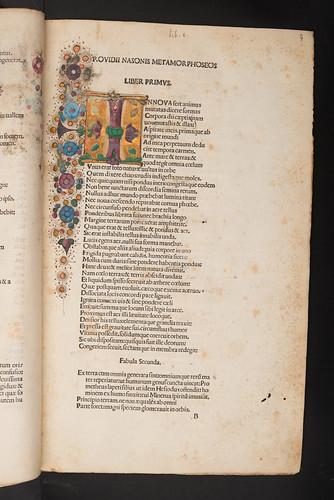 Decorated and illuminated initial in Ovidius Naso, Publius: Opera