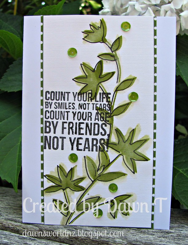 Faux watercolouring with a Penny Black stencil