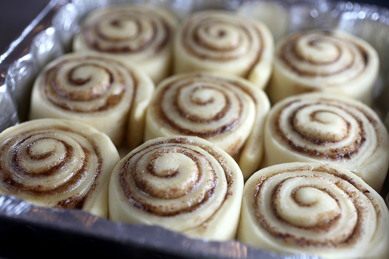 Cinnamon Roll Dough Rising