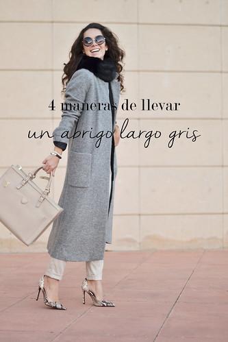4 maneras de llevar un abrigo extra largo de color gris