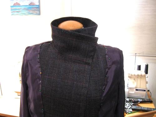 quart coat lining pinned in