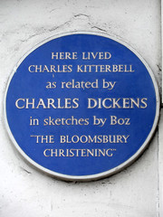 Photo of Charles Kitterbell and Charles Dickens blue plaque