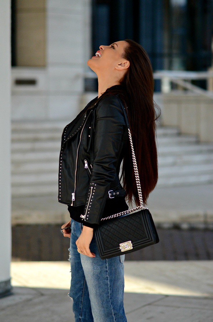 DSC_1551 Tamara Chloé. Chanel Boy Bag, Zara Biker jacket