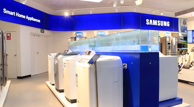 A Samsung store-within-a-store format is being tested through a few Lowe's stores