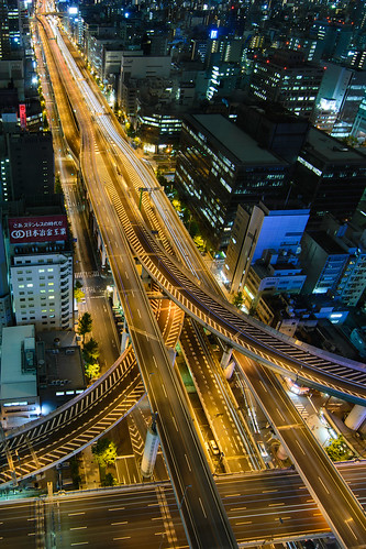 city japan night landscape highway long exposure overpass junction osaka elevated expressways cityspace