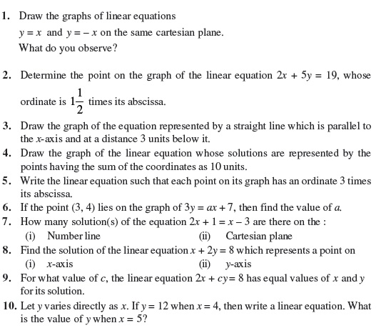 9 Important Questions for Maths - Linear Equations in Two Variables
