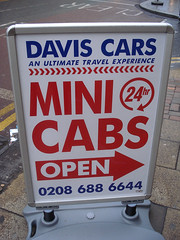 Sign outside Davis Cars, Croydon, London CR0
