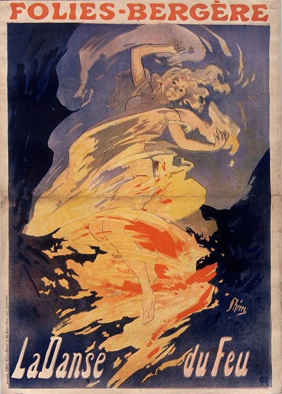 19th cent. french music-hall poster - girl on fire!
