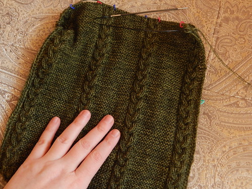 шарф с одной стороны в процессе