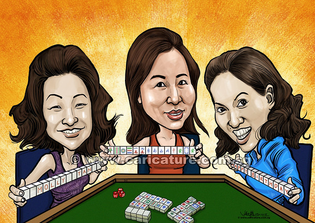digital group caricatures birthday playing mahjong (watermarked)