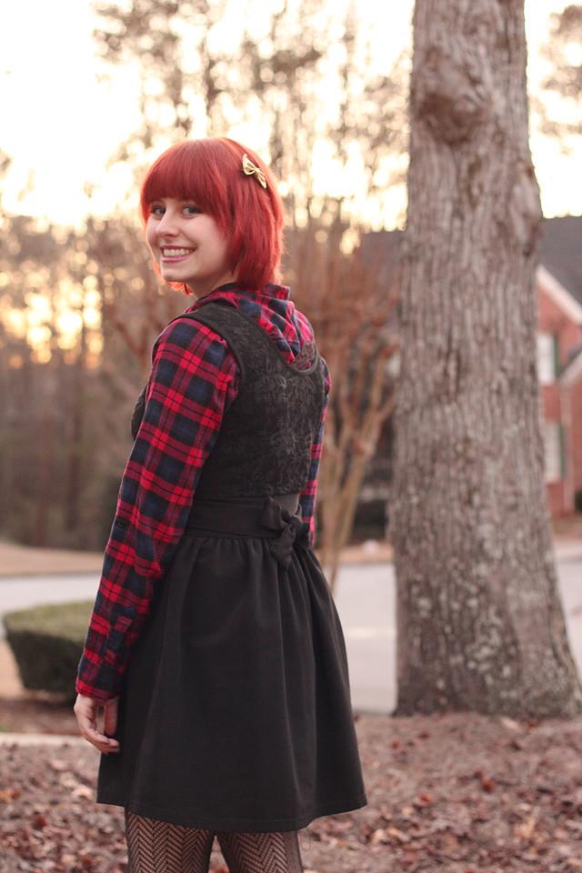Plaid Top Under a Little Black Dress