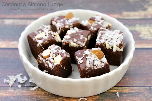 Coconut and Almond Fudge in a white bowl.
