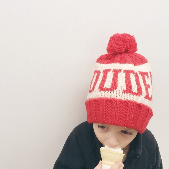 Irreverent hipster hats on 3-year-old's are my jam. Tate's jam is IKEA ice cream, obviously. #dude #gapkids #ootd #kidstyle
