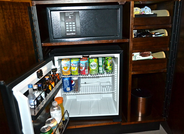epicurean hotel - stocked bar in room