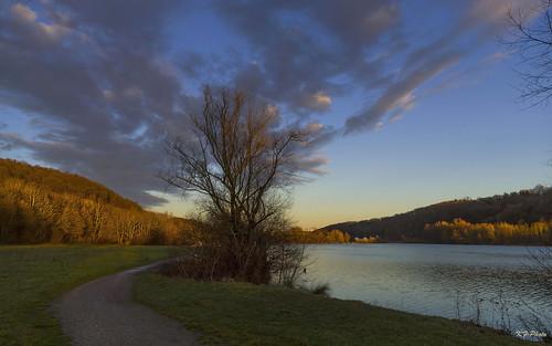 see dämmerung weg 1610 abendstimmung baggersee abendlicht epplesee kirchentellinsfurt blaukanalentrauschung