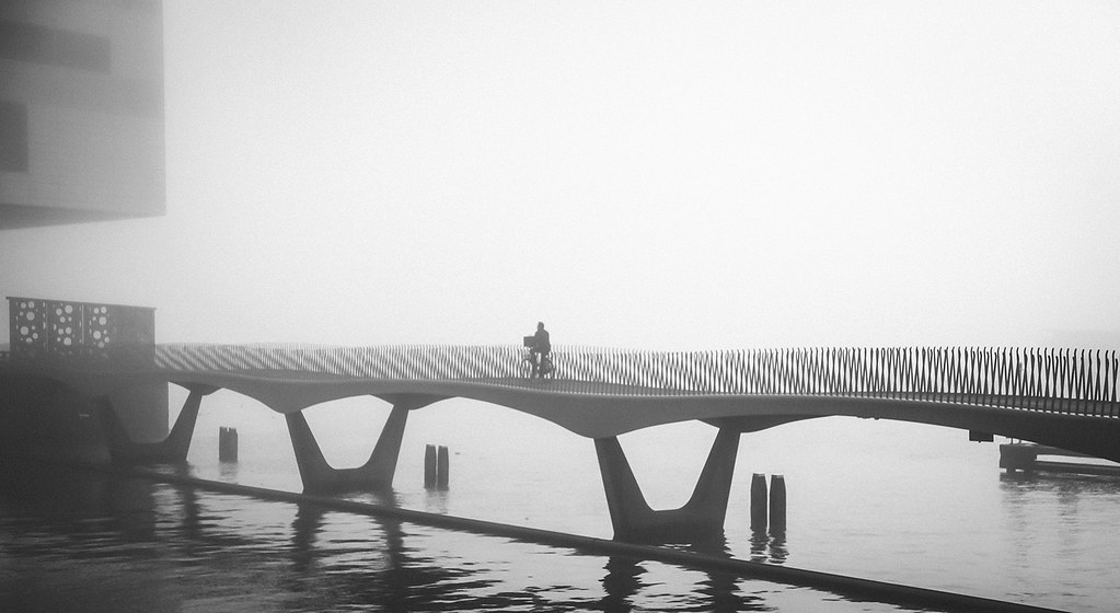 A bridge in Fog in Amsterdam.