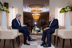 U.S. Secretary of State John Kerry and Iranian Foreign Minister Javad Zarif continue their negotiations about the future of Iran's nuclear program during a one-on-one meeting on January 23, 2015, on the sidelines of the World Economic Forum in Davos, Switzerland.  [State Department photo/ Public Domain]