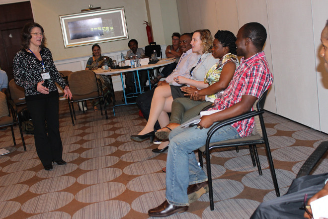 Melissa Julian, head of communications at European Centre for Development Policy Management (ECDPM) pitching during a 'Dragon's Den' session.