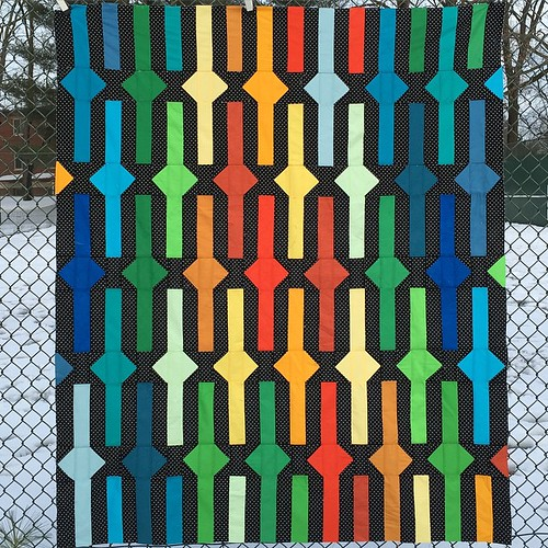 Braved the cold and the wet to get some photos of my finished #beltsandbucklesquilt top. @tensionissues @rebelcraftmedia