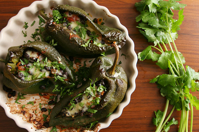 poblanos stuffed with black beans and cheese