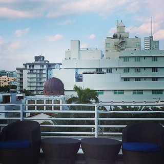 A #Hotel #Rooftop #SittingArea And Part Of The #SouthBeach #Florida #Skyline In The #Distance #BuenvenidosaMiami #WelcomeToMiami #Travel