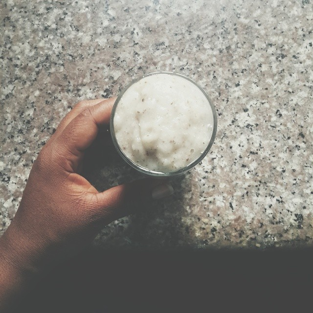 This is what elevenses would have been.  More like oneses. Totally made up word.  It's a cold smoothie of - soursop - almond milk - chia seeds in water  #vscocam #vscogram #vscofood #instafood #instagood #foodagram #foodstagram #healthy #health #vegan #ve