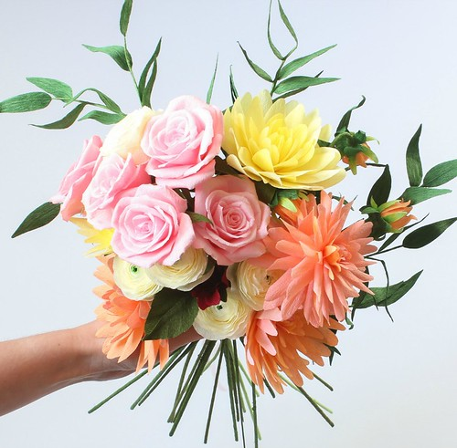 All things paper crepe paper flowers by a petal unfolds crepe paper rose and dahlia bouquet mightylinksfo