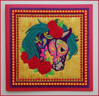 Sugar skull decorated horse card