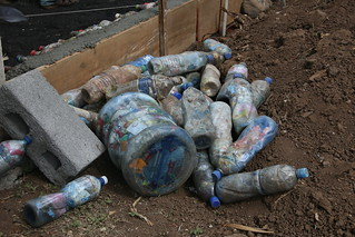They use plastic bottles filled with plastic to build schools for the children.  Hacienda Merida.  Ometepe Nicaragua.