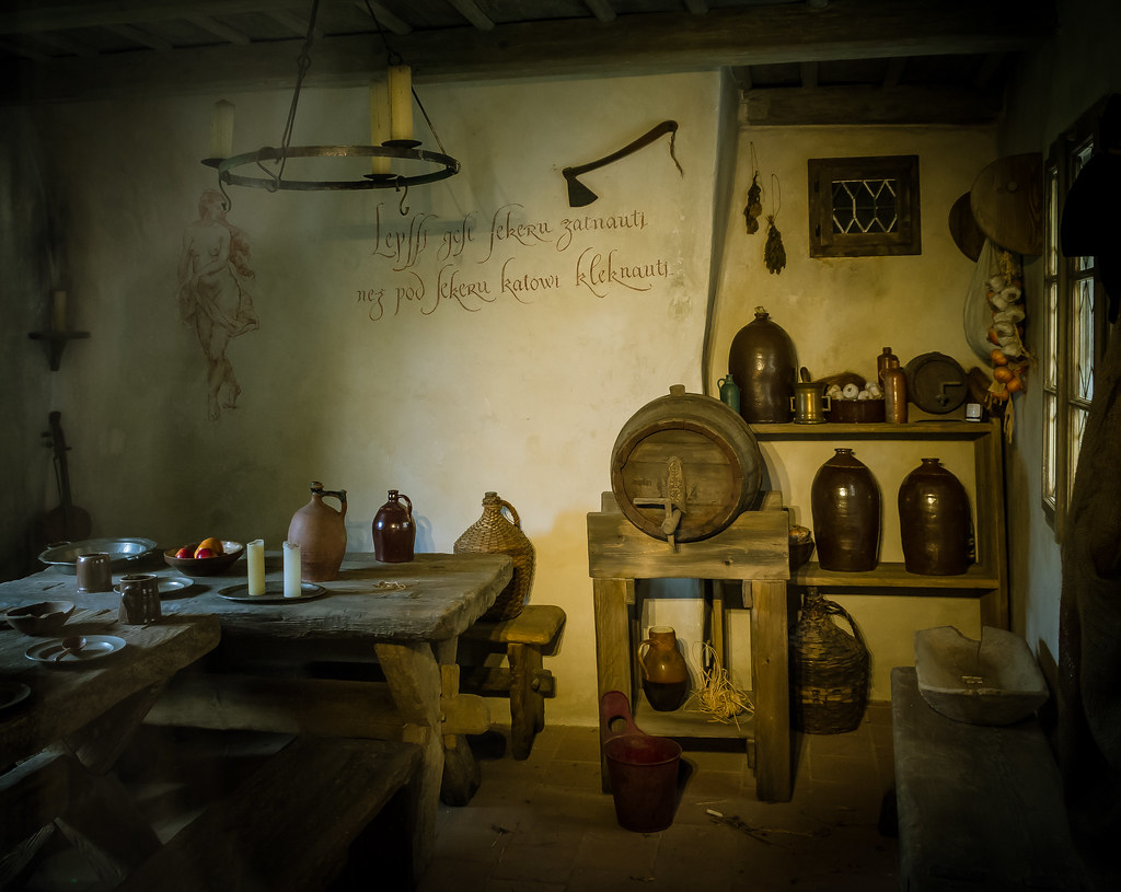 a recreation of an ancient tavern in Golden Lane, Prague Castle