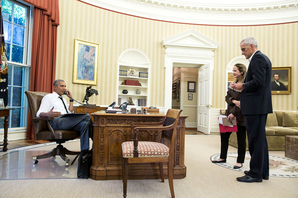 <p>President Barack Obama talks on the phone in the Oval Office with Secretary of State John Kerry regarding the situation in Turkey, July 15, 2016. Chief of Staff Denis McDonough and Avril Haines, Deputy National Security Advisor, listen. (Official White House Photo by Pete Souza)<br /> <br /> This official White House photograph is being made available only for publication by news organizations and/or for personal use printing by the subject(s) of the photograph. The photograph may not be manipulated in any way and may not be used in commercial or political materials, advertisements, emails, products, promotions that in any way suggests approval or endorsement of the President, the First Family, or the White House.</p>