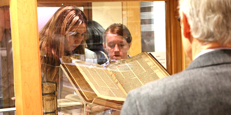Items from Principal Woolf's rare book collection are on display as part of the Library's exhibit of 15th-century printing.