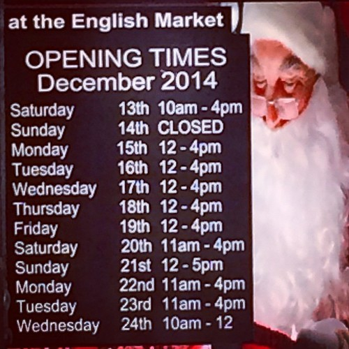 English Market hours over the holidays. #englishmarket #corkcity #christmashours