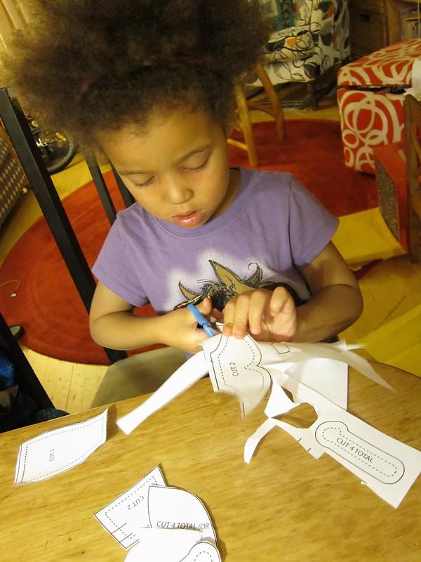 Cutting her pattern