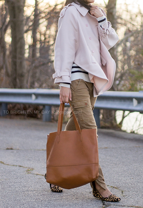 pink trench cape, striped sweater, cargo pants, cognac brown tote, leopard flats