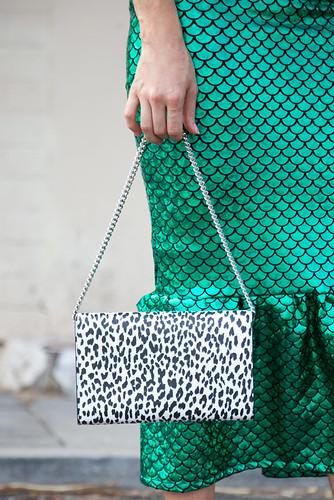 Green peplum skirt and leopard clutch