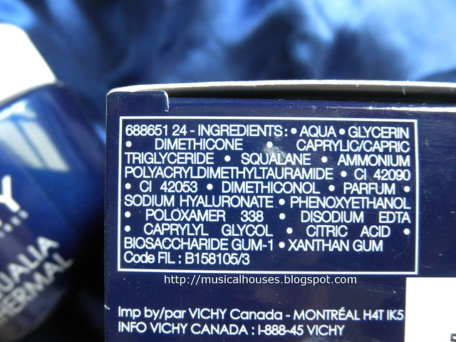 Vichy Aqualia Thermal Night Spa Sleeping Mask Ingredients