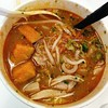 Tuesday is soup day! Tom yum noodle soup from the farmers market!