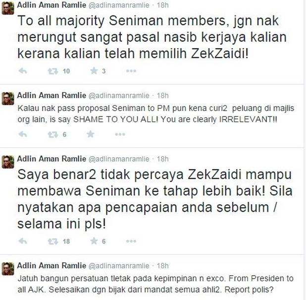 Setiap tahun, pasti ada sahaja berita kurang enak mengenai Persatuan Seniman ini. Kali ini, Adlin Aman Ramli sebagai Juru Audit persatuan itu mulai mengutuk Presiden persatuan itu di laman Twitter.