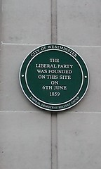 Photo of Liberal Party green plaque