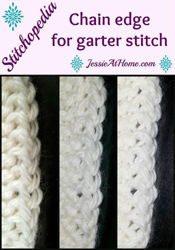 Stitchopedia ~ chain edge for garter stitch from Jessie At Home
