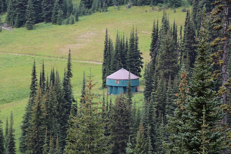 Zoomed-in view of the yurt below Tamarack Peak
