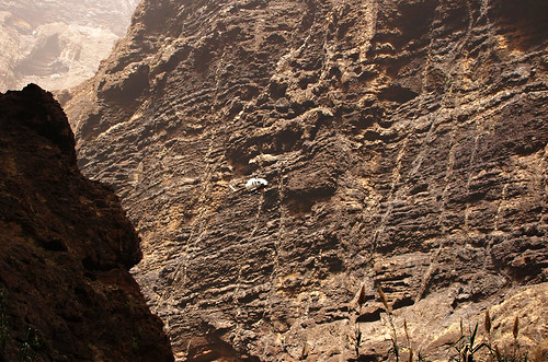 Rescue helicopter in Masca Barranco, Buenavista del Norte, Tenerife