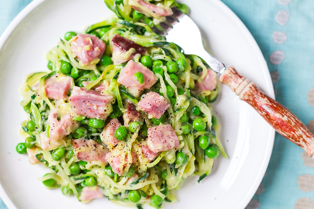 Zoodles & Cheese with Ham and Peas