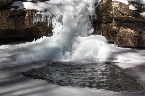 snow frozen waterfall bluehole