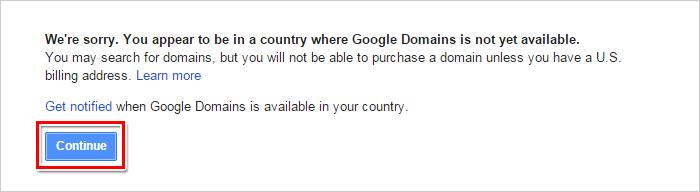 Google Domains 顯示該服務並不適用於非美國區,可以忽略此訊息